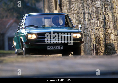Car, Audi 100 LS, model year 1968-1976, Vintage approx., Youngtimer, sixties, The 70s, Limousine, four-door, bluish - Stock Photo