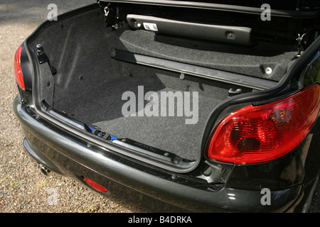 Car, Peugeot 206 CC, Convertible, model year 2000-, black, open top, view into boot, technique/accessory, accessories - Stock Photo