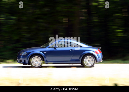 Car, Audi TT 3.2, coupe, roadster, model year 2003-, blue moving, country road, side view - Stock Photo