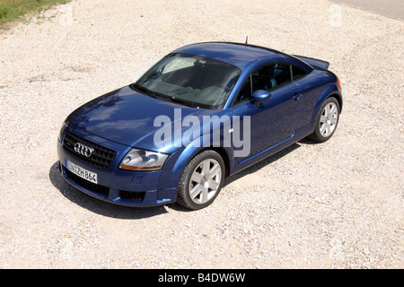 Car, Audi TT 3.2, coupe, roadster, model year 2003-, blue, standing, upholding, diagonal from the front/oben - Stock Photo