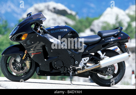 engine cycle, Sports motor cycle, Sportsman, Suzuki GSX 1300 R Hayabusa, black, model year 2003, standing, upholding, - Stock Photo