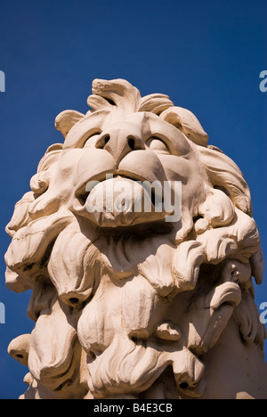 'Coade stone' lion sculpture, Westminster bridge, London, England, UK - Stock Photo