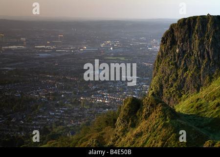 View from top of Cave Hill overlooking Belfast belfast northern ireland uk - Stock Photo