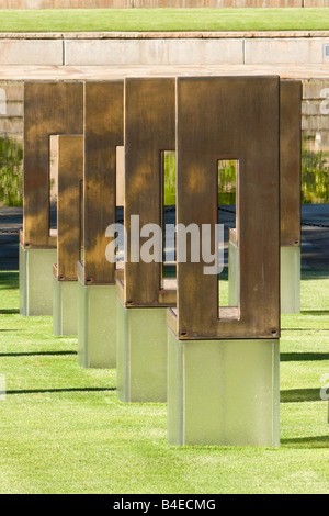 Oklahoma City, Oklahoma, USA. National Terrorism Memorial Empty Chairs Honoring Those Killed. - Stock Photo