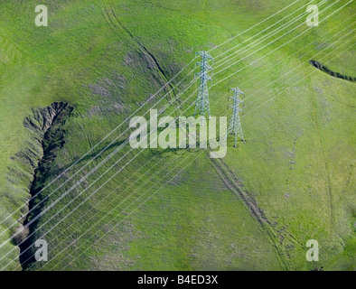 aerial above electrical powerlines California - Stock Photo