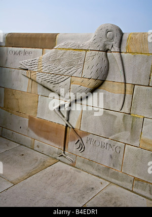 Sculpture of bird in wall part of the SEE project Morecambe Lancashire England UK - Stock Photo