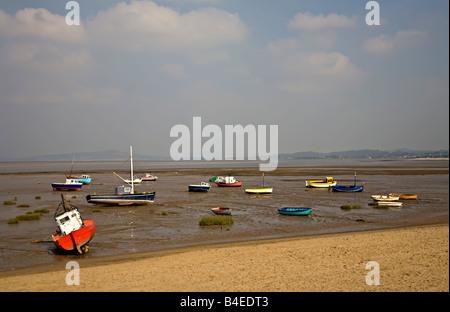 Boats on Morecambe sands at low tide Morecambe Lancashire England UK - Stock Photo
