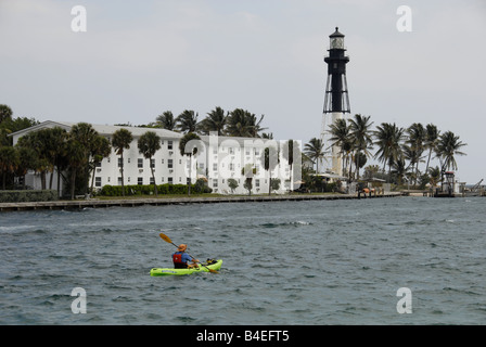 The Hillsboro Lighthouse viewed from across the inlet, Pompano Beach Florida, USA. - Stock Photo