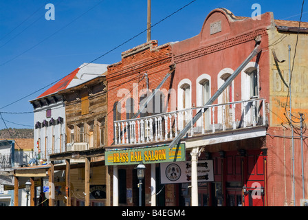 Historic buildings in winter at C Street in Virginia City Nevada USA - Stock Photo