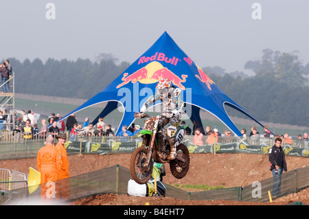 red bull sponsor sponsored event extreme sport sponsorship action excitement exciting motorcross motor cross X jump - Stock Photo