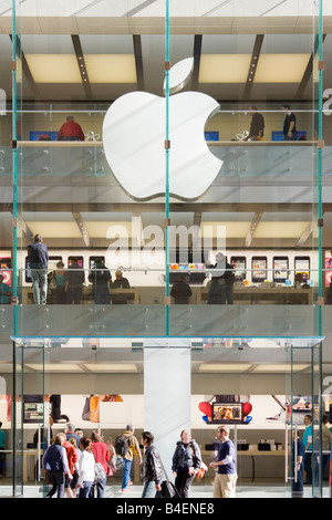 Shopping at Apple retail store in Sydney  NSW Australia. Storefront, entrance and Apple logo on George St. - Stock Photo