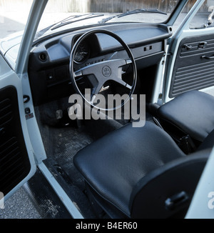Car, VW, Volkswagen, beetle 1303, light blue, compact, sub-compact, small car, model year 1972-1975, old car, 1970s, - Stock Photo