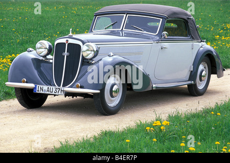 Audi 225 convertible, model year 1933-1938, grey, standing, diagonal front, front view, road, country road, landscape, - Stock Photo