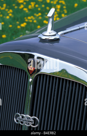 Audi 225 convertible, model year 1933-1938, grey, detail, details,  radiator, cowling, grill, hood ornament, logo, - Stock Photo