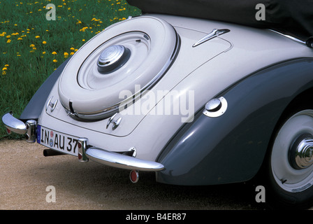 Audi 225 convertible, model year 1933-1938, grey, standing, diagonal back, back view, detail, details, spare wheel, - Stock Photo
