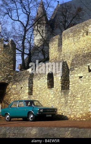 Car, Audi 100 LS, model year 1968-1976, vintage car, old car, 1960s, sixties, 1970s, seventies,  sedan, four-door, - Stock Photo