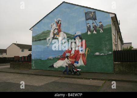 Loyalist mural of King William defeating King James II in Belfast, Northern Ireland, UK. - Stock Photo