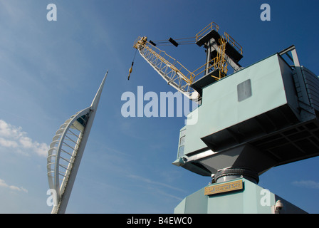 Spinnaker Tower and giant crane at Gunwharf Quays Portsmouth Hampshire England - Stock Photo