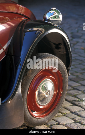 Car, Citroen 2CV Charleston, sedan, model year 1980-1989, old car, red-black, detail, details, tire, tyre, tires, - Stock Photo