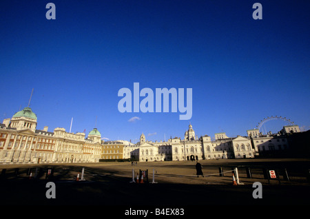 Horse Guards parade ground, Old Admiralty building, Horse Guards building, London Eye, England, UK - Stock Photo