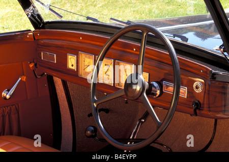 Car, Lancia Astura convertible, vintage car, model year 1938, 1930s, thirties, black,  interior, Cockpit, technics, - Stock Photo