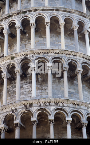 Detail of the Leaning Tower of Pisa in Italy. - Stock Photo