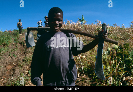 Farm workers carrying tool over his shoulder in field, portrait, Angola, Africa - Stock Photo