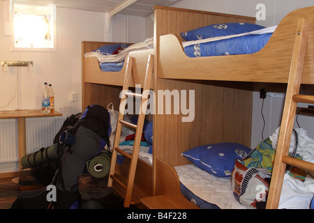Stockholm view of cabin and backpack at Af Chapman - Stock Photo