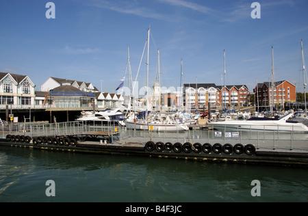 Town Quay Southampton England UK Waterfront development of housing boating marina - Stock Photo