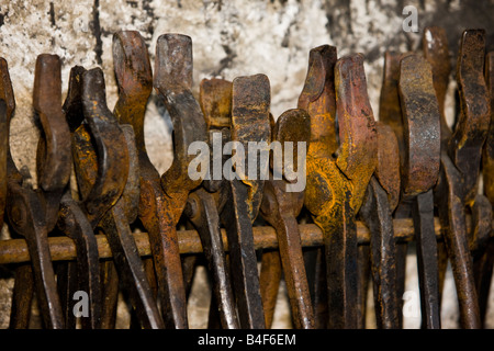 Tools on display in the Blacksmith Shop, Lower Fort Garry - a National Historic Site, Selkirk, Manitoba, Canada. - Stock Photo