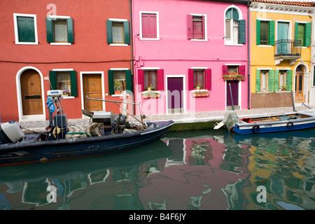 The multicoloured houses of Burano Island Venice Italy - Stock Photo