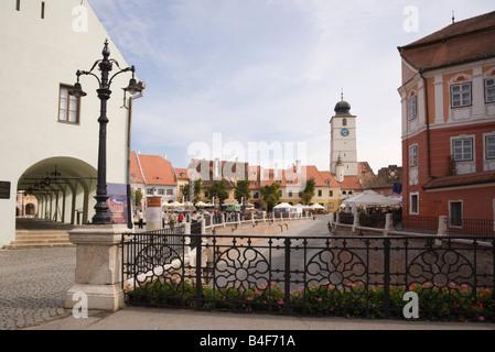 Sibiu Transylvania Romania Europe. Old buildings in Piata Mica square from Liars Bridge in historic city centre - Stock Photo