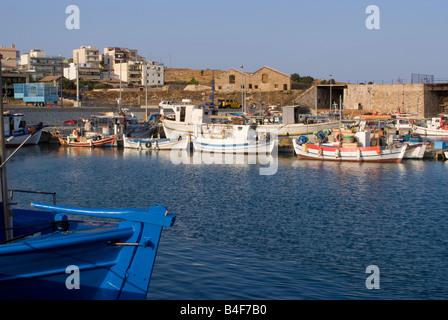 Part of the Inshore Greek Fishing Fleet in Lavrion Harbour Greek Mainland Aegean Sea Greece - Stock Photo