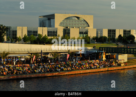 German Chancellery in Berlin on the banks of river Spree, Berlin Germany - Stock Photo
