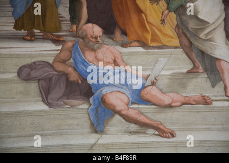 school of athens painted by raphael Raphael painted sages from different epochs as colleagues in a timeless  academy for the library of pope julius ii plato, aristotle, socrates, ptolemy,  leonardo,.
