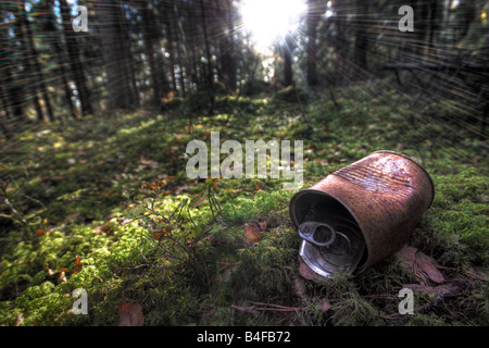 Rusty tin can in forest - Stock Photo