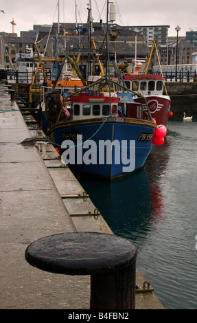 Trawlers moored at the Barbican Plymouth - Stock Photo