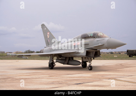 Eurofighter Typhoon T1 of the Royal Air Force on arrival at Malta International Airport - Stock Photo