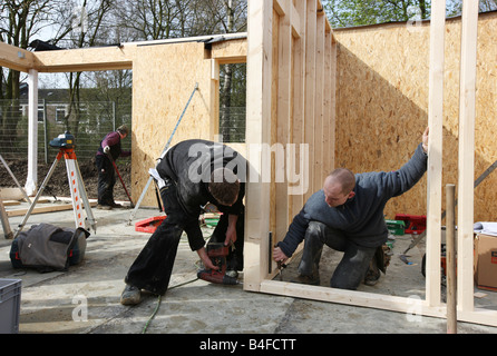 DEU Germany Recklinghausen Construction site of a wooden house - Stock Photo