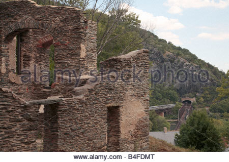 The ruins of St. John's church at Harpers Ferry, West Virginia, with the railroad tunnel in the background. - Stock Photo