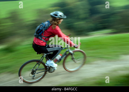 Mountain biking Hayfield Peak District National Park Derbyshire England UK GB - Stock Photo