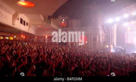 Crowd of people in he gig at the Brixton Academy, London, UK 2008 - Stock Photo