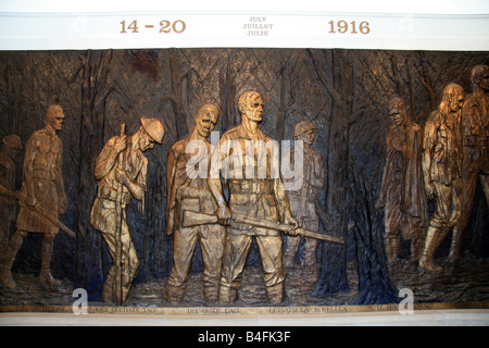 A bronze panel, in the South African National Memorial depicting South Africa's experiences in the Great War at - Stock Photo