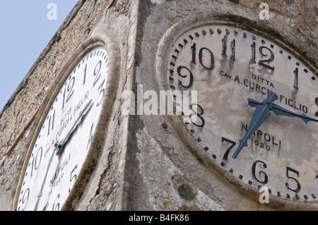 Clock tower of Chiesa di Santa Sofia, Anacapri - Stock Photo