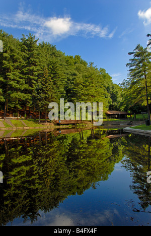 Reflections on the water at Evergreen Community Park in Pittsburgh, Pennsylvania. - Stock Photo