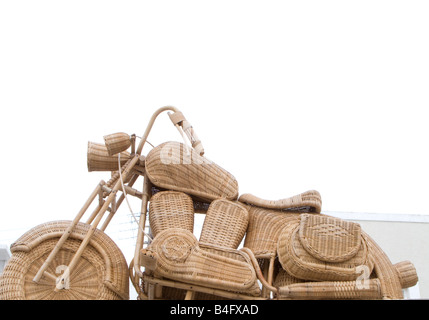 wicker harley odd offbeat motorbike bike weird fun - Stock Photo