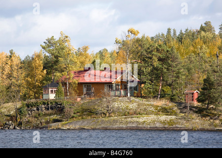 Summer house at lake Saimaa Finland - Stock Photo