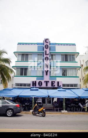 Colony Hotel, South Beach, Miami, Florida - Stock Photo