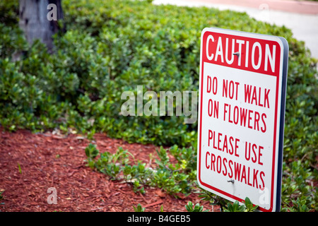 Caution Do Not Walk On Flowers sign - Stock Photo