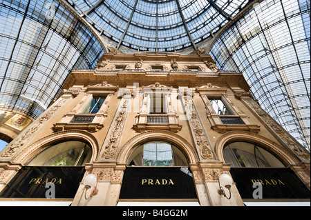 Prada Store in the Galleria Vittorio Emmanuele II, Milan, Lombardy, Italy - Stock Photo